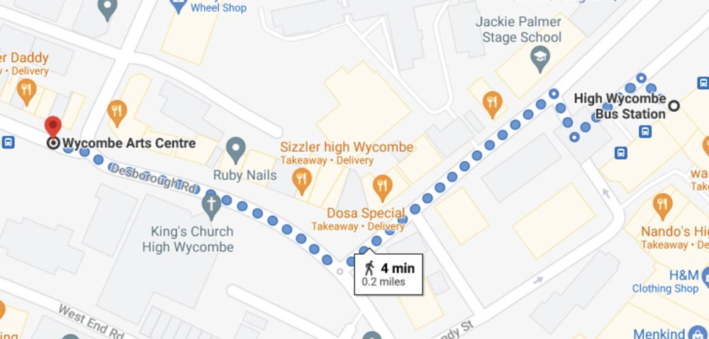Map from High Wycombe Bus Station to Wycombe Arts Centre